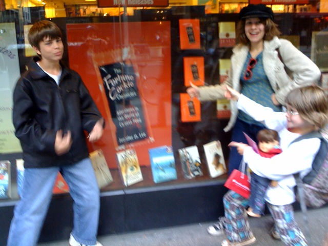 Kelly's kids in front of Barnes and Noble