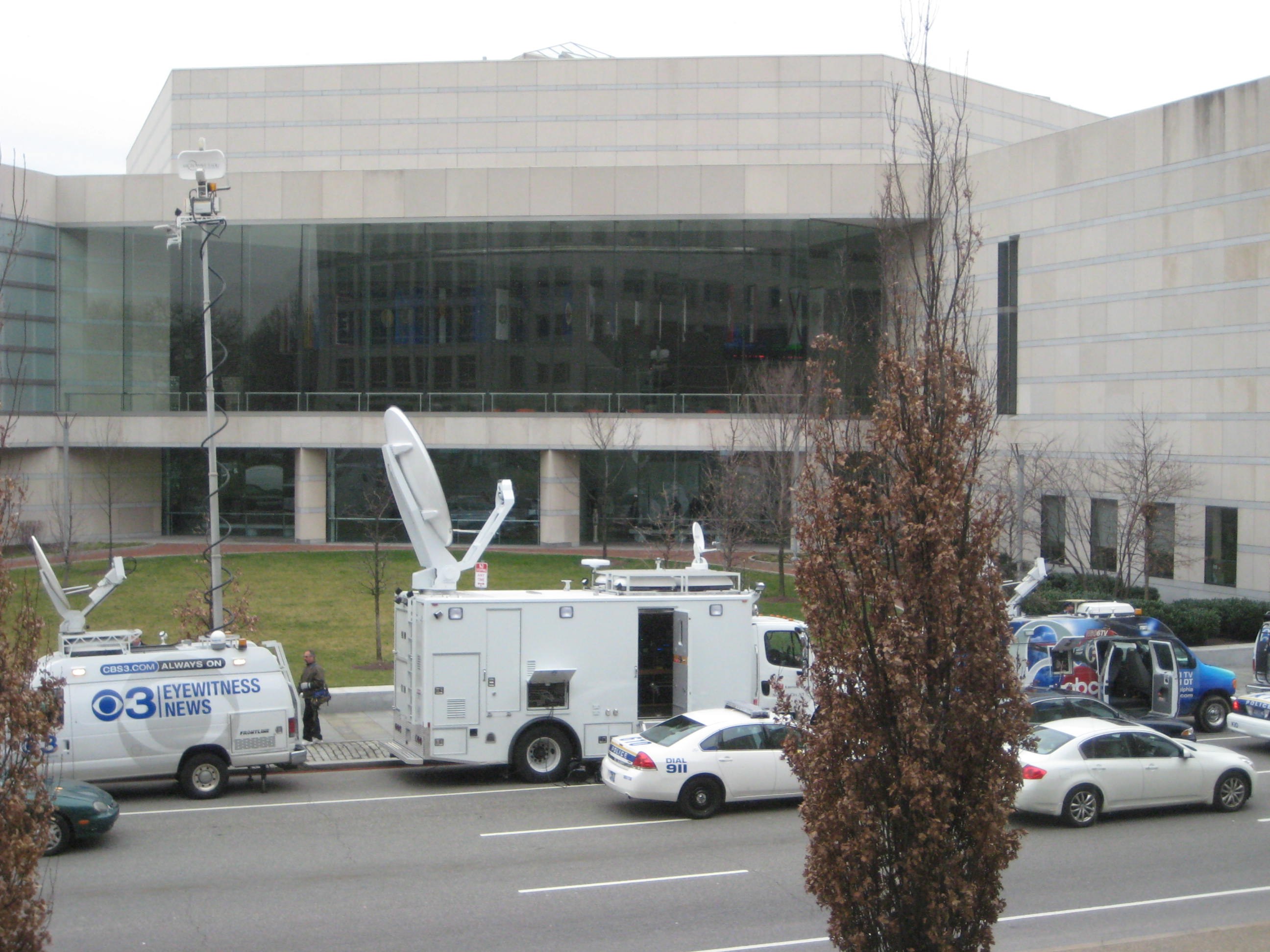 Television vans waiting outside Constitution Hall for Obama's Race speech in Philadephia