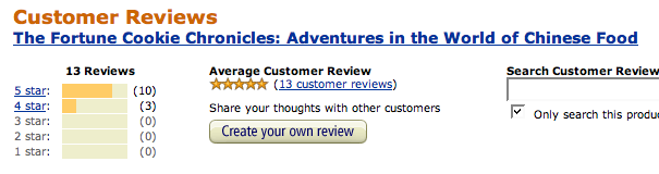 Amazon rating fortune cookie chronicles five star