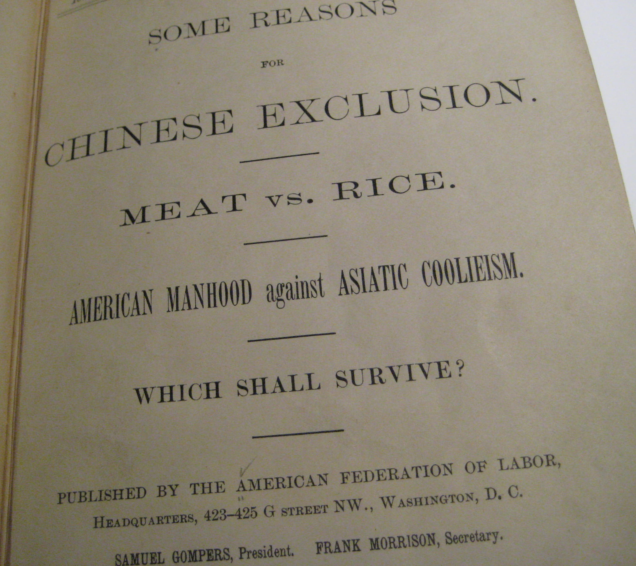 Meat vs. Rice, American Manhood versus Asiatic Coolism