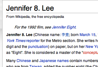 Wikipedia Chinese Name Jennifer 8. Lee