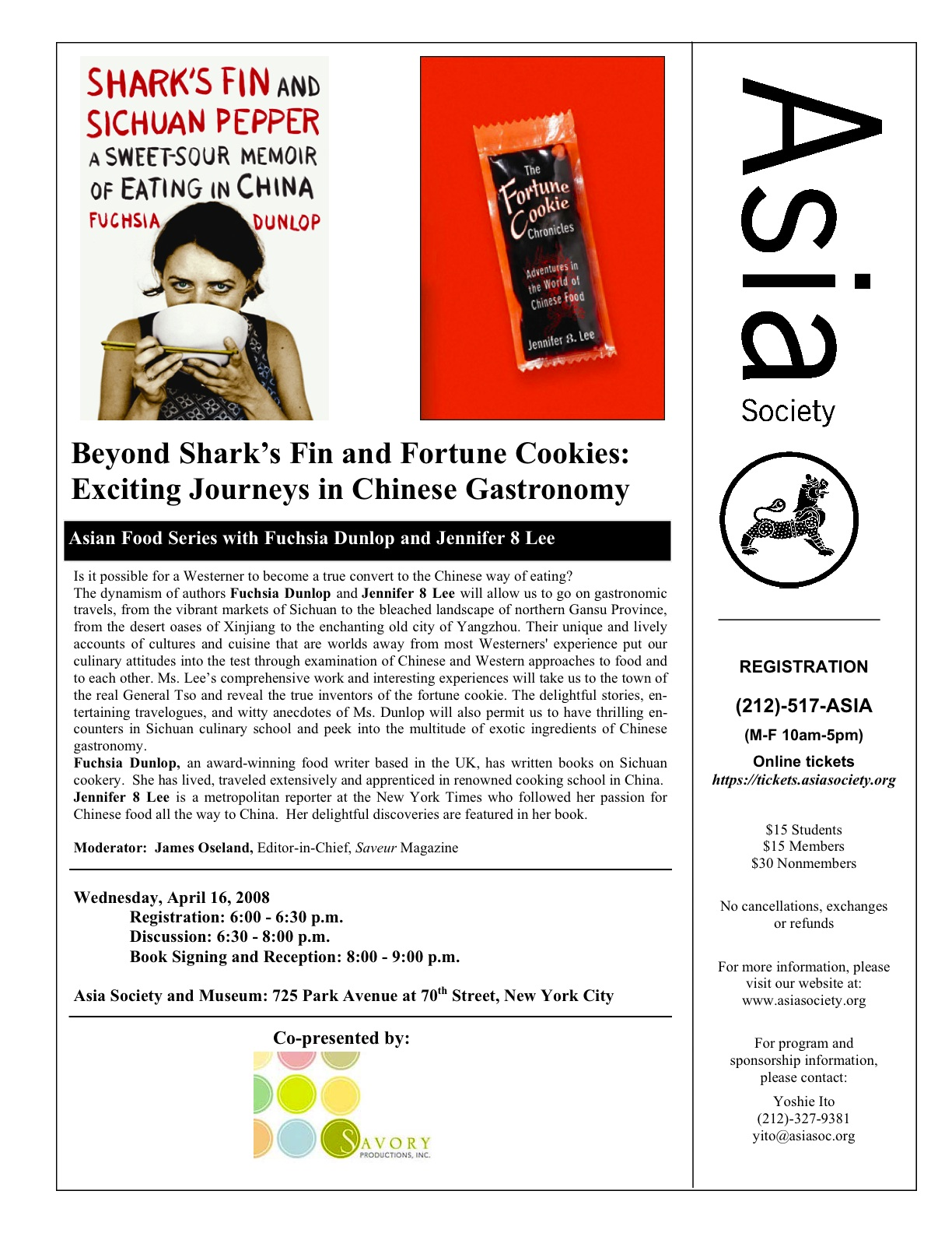 Asia Society April 16 event with Fucshia Dunlop and Jennifer 8. Lee flyer
