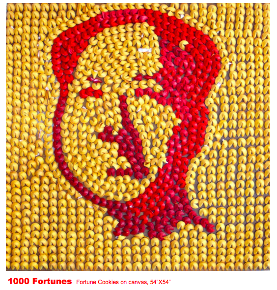 Mao Zedong portrait made out of fortune cookies