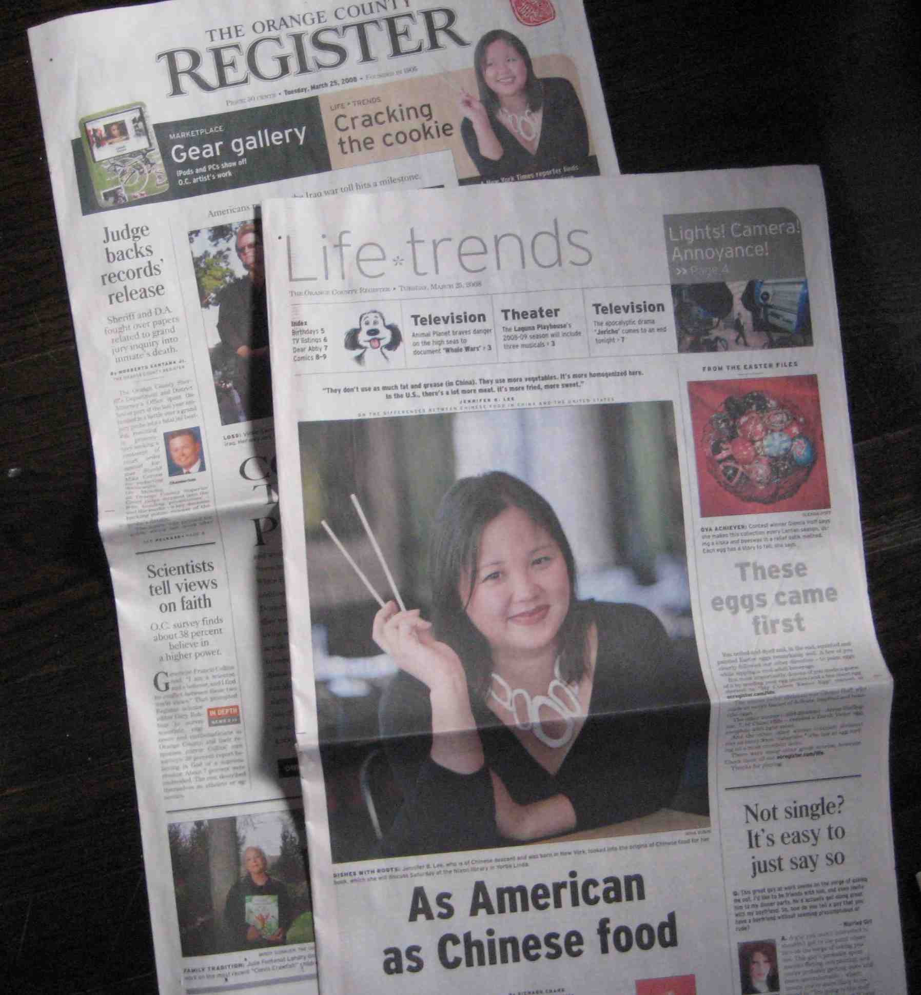 Orange County Register Feature Page on The Fortune Cookie Chronicles
