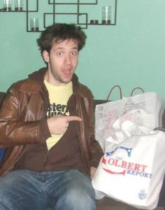 Alexis Ohanian and the Colbert Show gift bag in the Green Room, which is actually Green