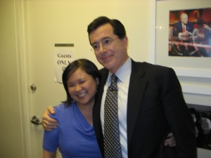 Jennifer 8. Lee and Stephen Colbert in the Green Room
