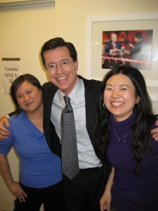 Jennifer 8. Lee, Stephen Colbert and Tomoko Hosaka
