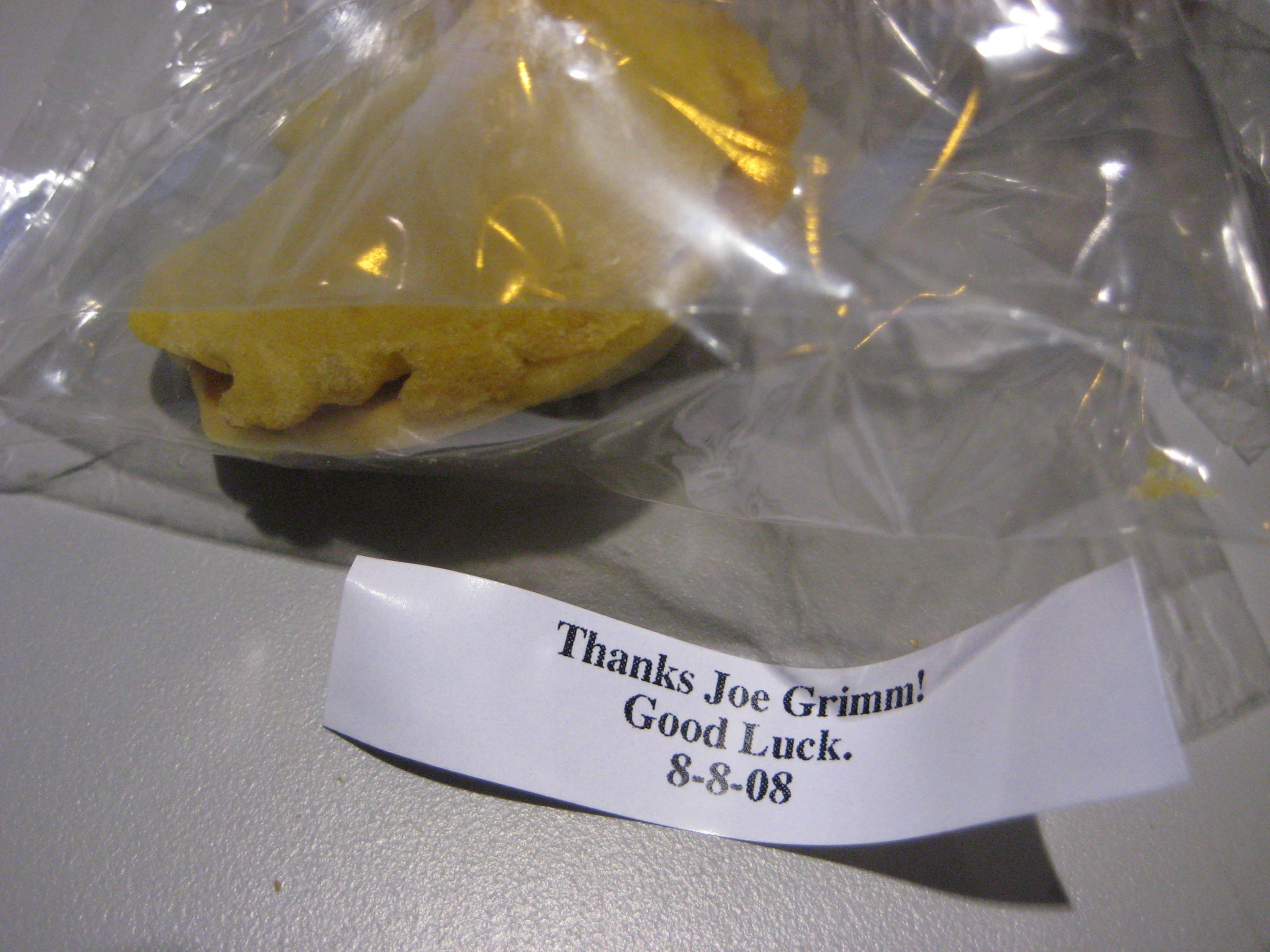 Thanks Joe Grimm Fortune Cookies
