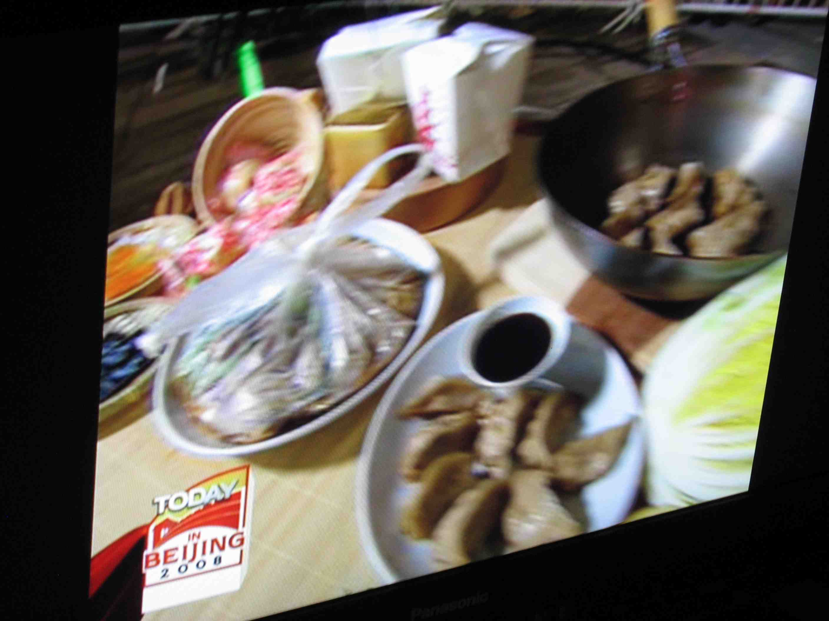 Blurry Today show shot of my props on the Fortune Cookie Chronicles