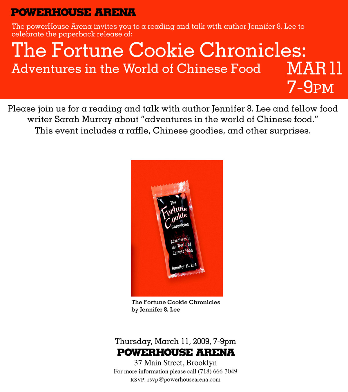 powerHouse invite for Fortune Cookie Chronicles event on March 11, 2009 7-9 pm